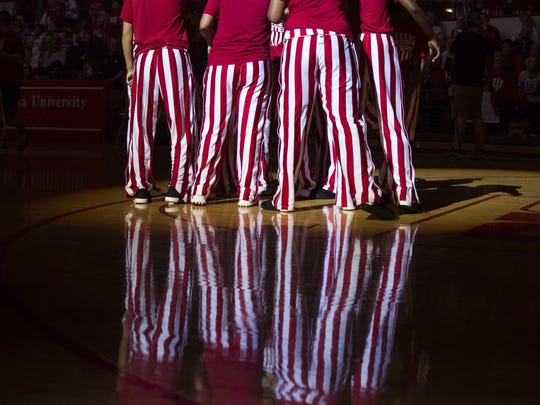 Members of the Indiana women's basketball team wear