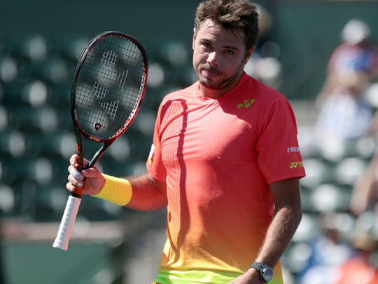 Stan Wawrinka of Switzerland after missing a shot at net during his match with David Goffin of Belgium on Wednesday, March 16, 2016 at the Men's 4th round at the BNP Paribas Open.