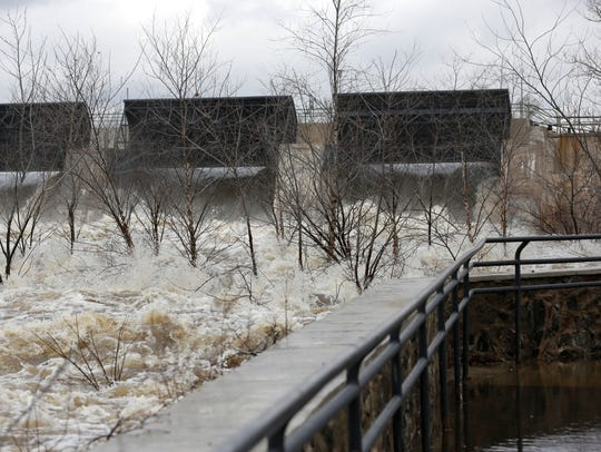 The dam on the Wisconsin River in Wisconsin Rapids