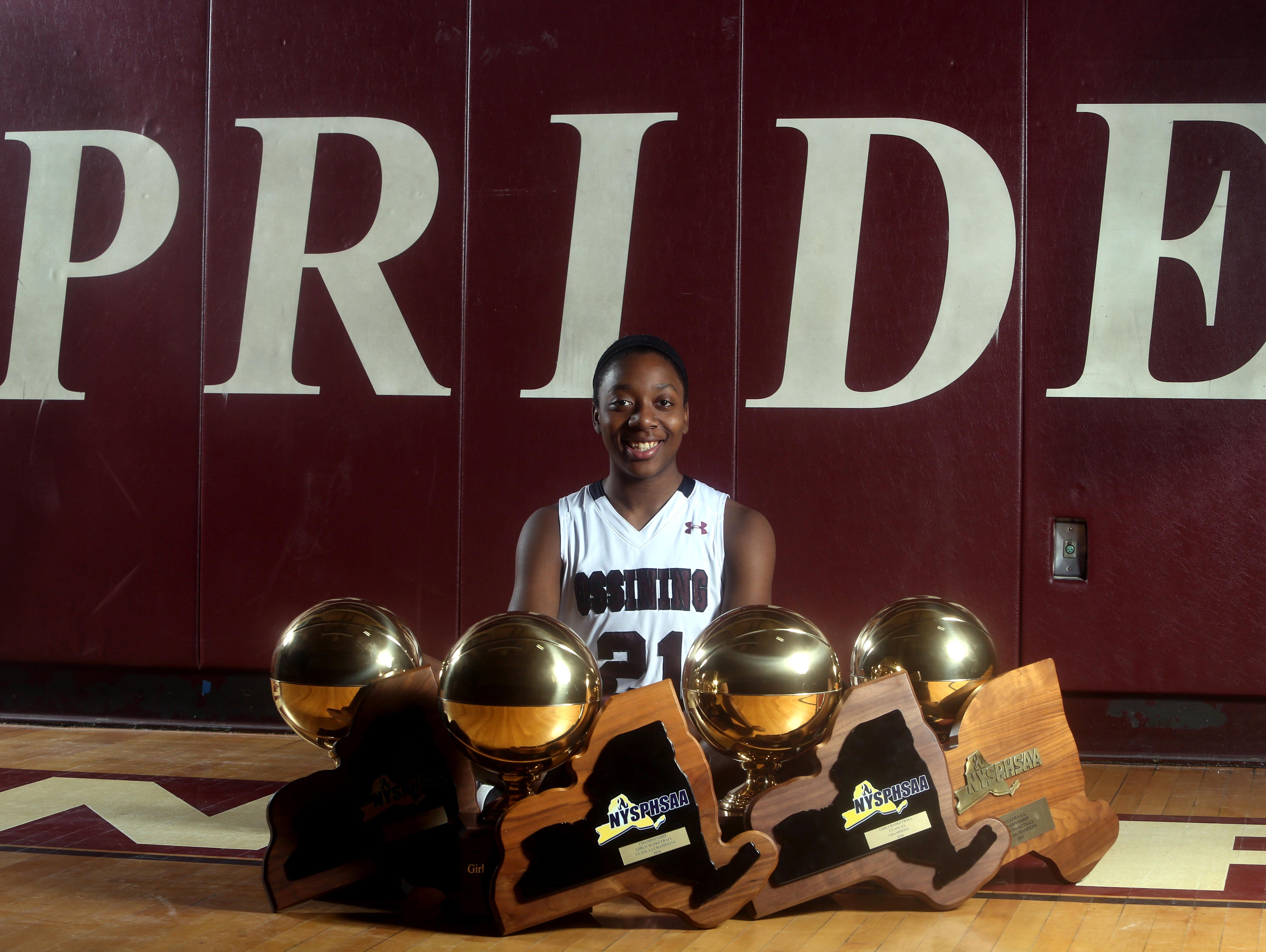Shadeen Samuels of Ossining High School is the Westchester/Putnam girls basketball player of the year. She finishes up her four years at Ossining with four Section 1 titles, four state championships, and the 2016 Federation Tournament of Champions victory.