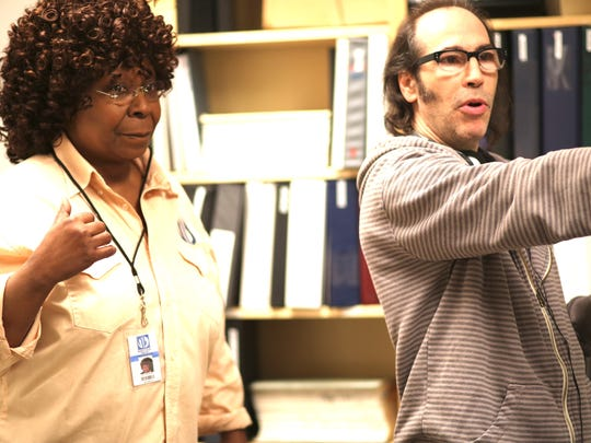 "Former Vermonter Martin Guigui directing Whoopi Goldberg, a cast member of his movie ""Nine Eleven."""