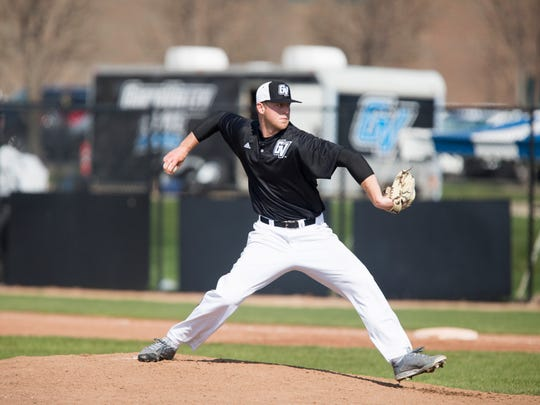 St. Clair's Tyler Lozen pitches for Grand Valley State