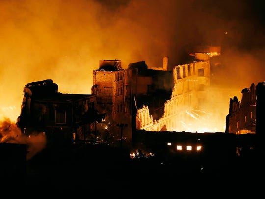 Flames rise at the old Mount Vernon mill complex early