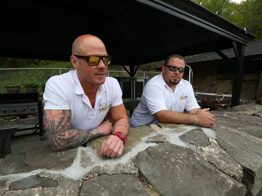 Kevin Berry, left, and Joe Agnello of NoCo Northern Comfort Catering are getting ready to open their NoCo Beach Grill at the new Tallman Beach and Pool Club May 10, 2016.