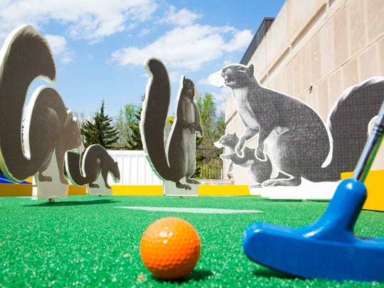 """Shadow-Tailed Scourge,"" the first hole in the Indianapolis Museum of Art's new mini-golf course, is inspired by a real incident in Indiana."