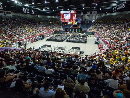 Many gather at the Pan American Center on Thursday,