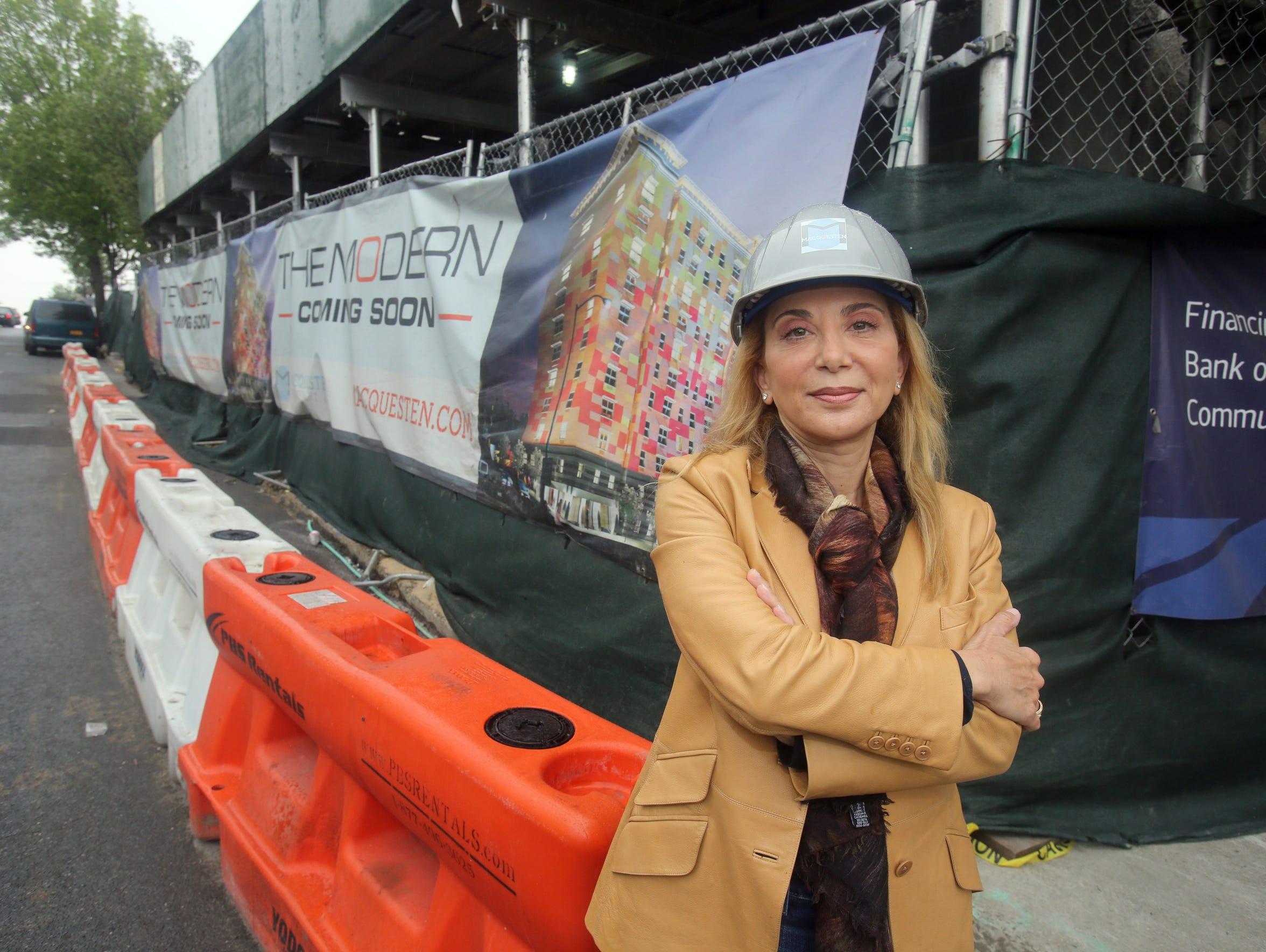 Rella Fogliano, founder and CEO of the MacQuesten Companies, outside an apartment building construction site in Mount Vernon May 13, 2016. She has been a top Cuomo donor and has received state breaks for projects.