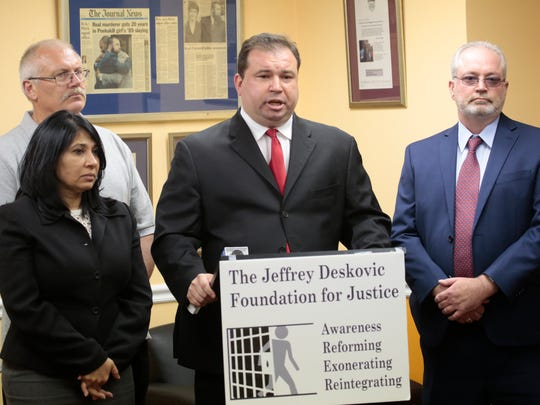 Attorney Rita Dave, Paul Roncallo, Jeffrey Deskovic and William Haughty at a press conference in the Bronx on Haughey's overturned conviction for arson on May 25, 2016. Haughey spent 8 years in jail.