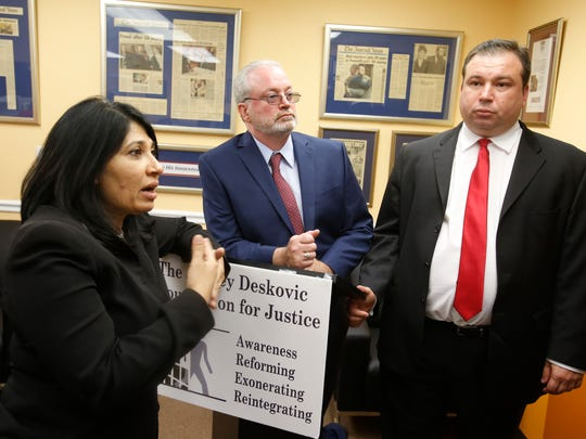 Attorney Rita Dave, William Haughey and Jeffrey Deskovic at a press conference in the Bronx on Haughey's overturned conviction for arson on May 25, 2016. Haughey spent 8 years in jail.