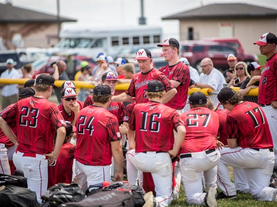 Wapahani huddles after the game following a loss to Frankton with a final score of 1-5 at the 2A Sectional championship game on Monday at Frankton Elementary.