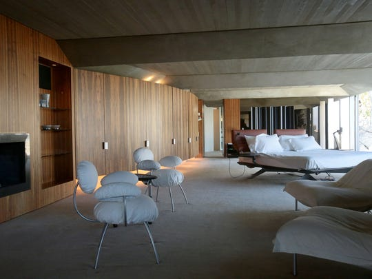 The master suite at the Elrod House in Palm Springs