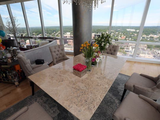The dining area of the penthouse owned by David and