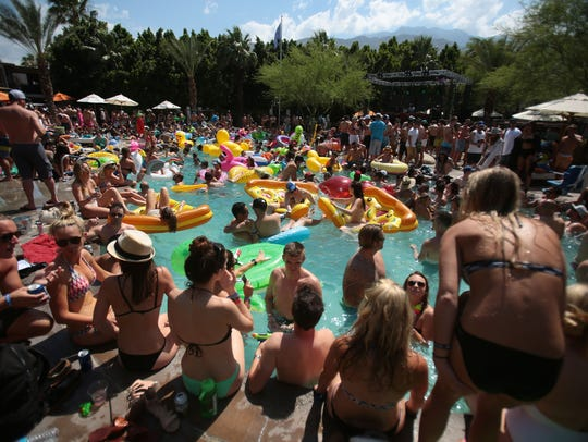 The scene at the Riviera Palm Springs pool on Saturday,