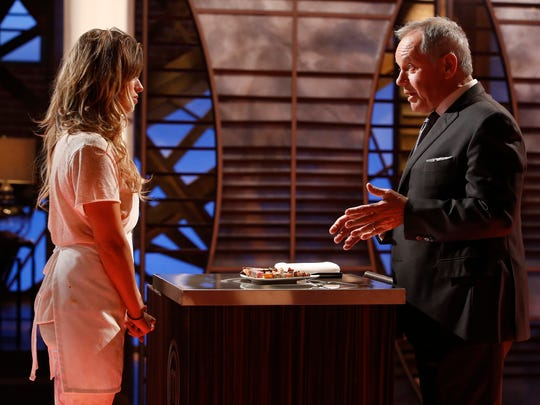 """MasterChef"" contestant Cassie Peterson talks to Wolfgang Puck in the ""Wolfgang Puck"" episode that aired on Wednesday, June 15."