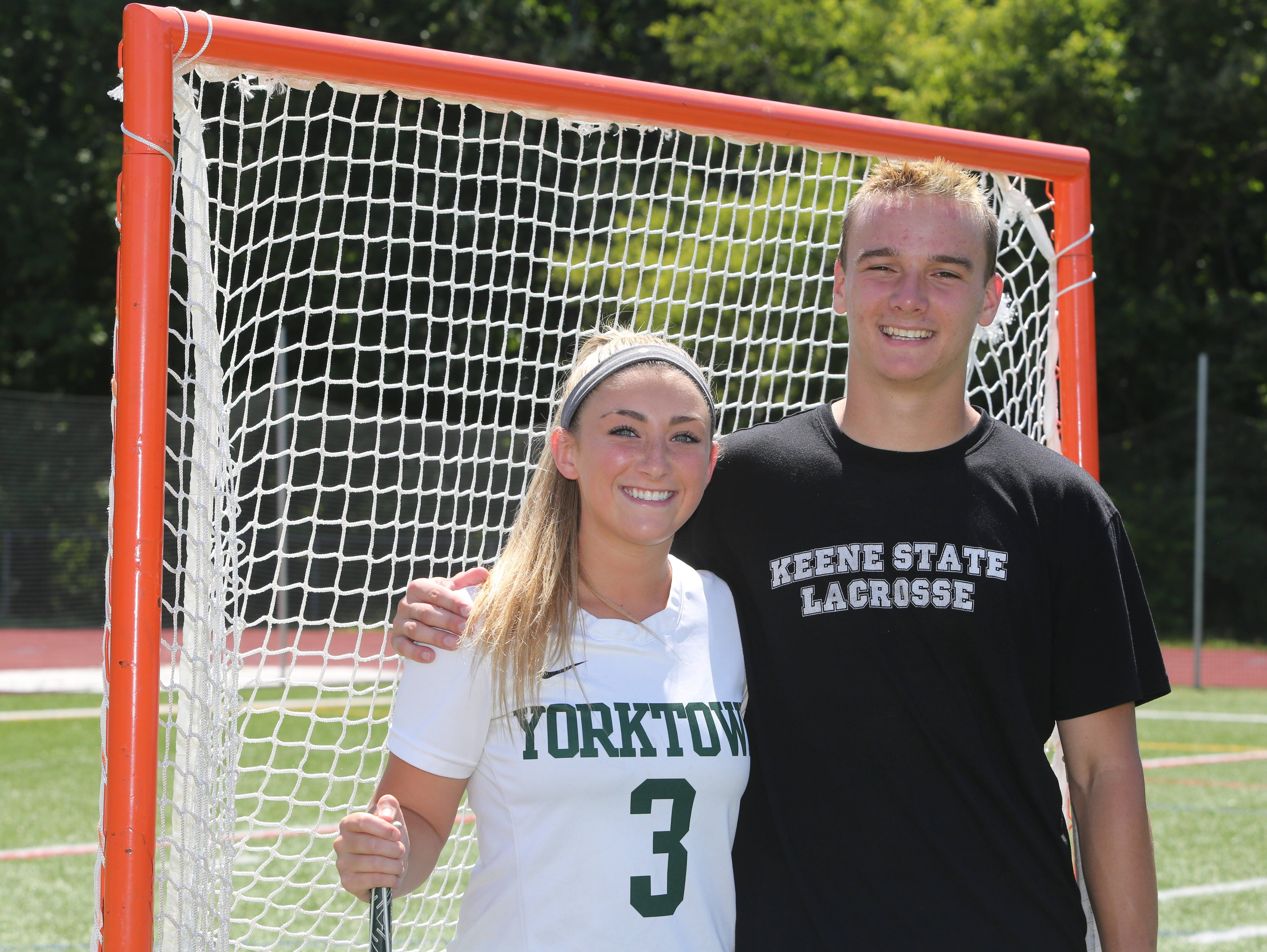 Casey Duff and Liam Donnelly, Yorktown High School lacrosse players, were both named Journal News players of the year. Here they are pictured at the school, June 17, 2016.