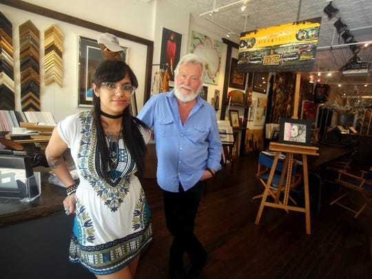New Rochelle City Councilman Ivar Hyden with artist Maya Menon in Backstreet Gallery and Framing.