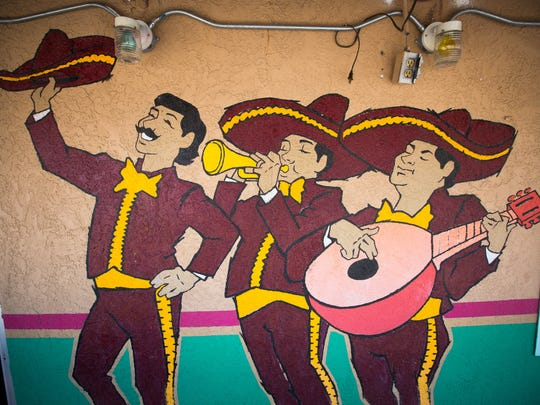 Mariachis are featured in one of the murals at  La