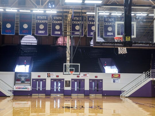 Central's Fieldhouse has the floors waxed on Wednesday