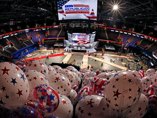 Balloons on Thursday wait to be hoisted into the rafters of the Quicken Loans Arena as work continues in preparation for the upcoming Republican National Convention in downtown Cleveland. Sixteen Delaware delegates are attending the convention.
