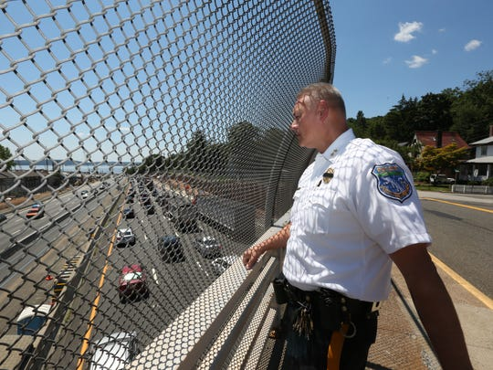 South Nyack-Grand View Police Chief Brent Newbury talks about the diversion plans for traffic that were put into action after the crane collapse on the Tappan Zee Bridge July 20, 2016.