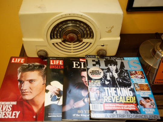 The shop is packed with Elvis memorabilia.
