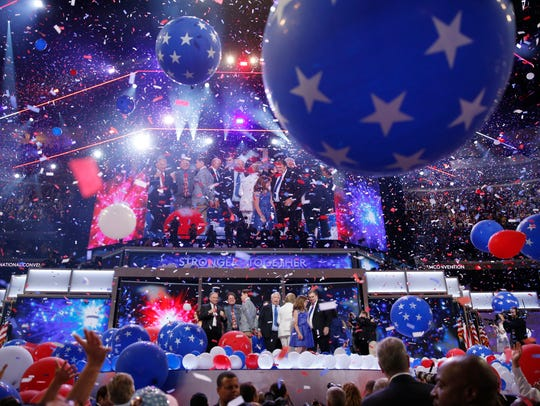 Balloons fall after Democratic presidential nominee
