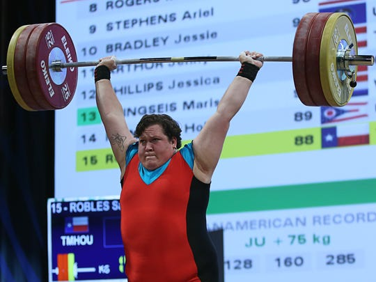 Sarah Robles competes in the  women's +75kg clean and jerk weight class at the USA Olympic Team Trials for weightlifting at the Calvin L. Rampton Convention Center on May 8, 2016 in Salt Lake City, Utah.