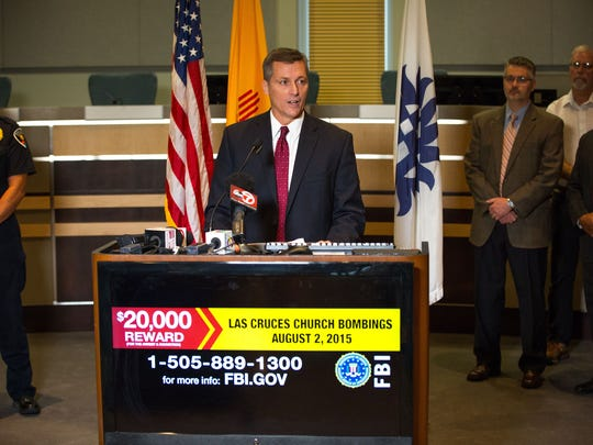 Terry Wade, FBI special agent in charge of the Albuquerque Division, speaks to the press on the one-year anniversary of the church blasts at Las Cruces City Hall, Tuesday, August 2, 2016.