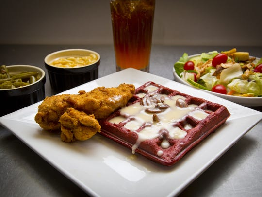 Order up fried chicken with a red velvet waffle, salad, green beans and mac and cheese, all from Patton's.
