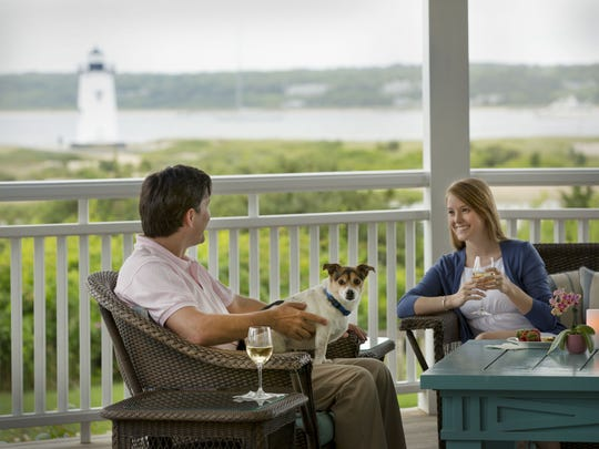 Sit out on the porch of Harbor View Hotel and enjoy a view of the Edgartown Lighthouse.