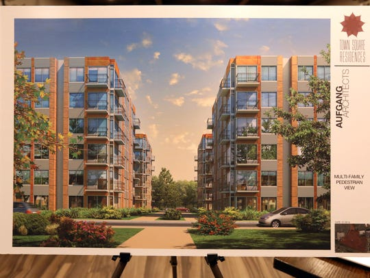Artist rendering of a proposed 600-unit housing complex