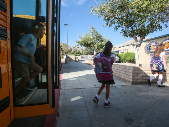 Students get off a school bus to start their day at Rancho Mirage Elementary School on Thursday, August 11, 2016 in Rancho Mirage.