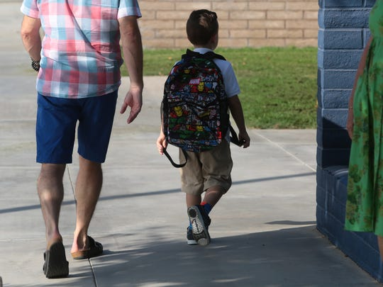 Students starting their day Rancho Mirage Elementary School on Thursday, August 11, 2016 in Rancho Mirage.