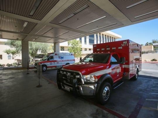 Emergency vehicles outside the Emergency room at Eisenhower