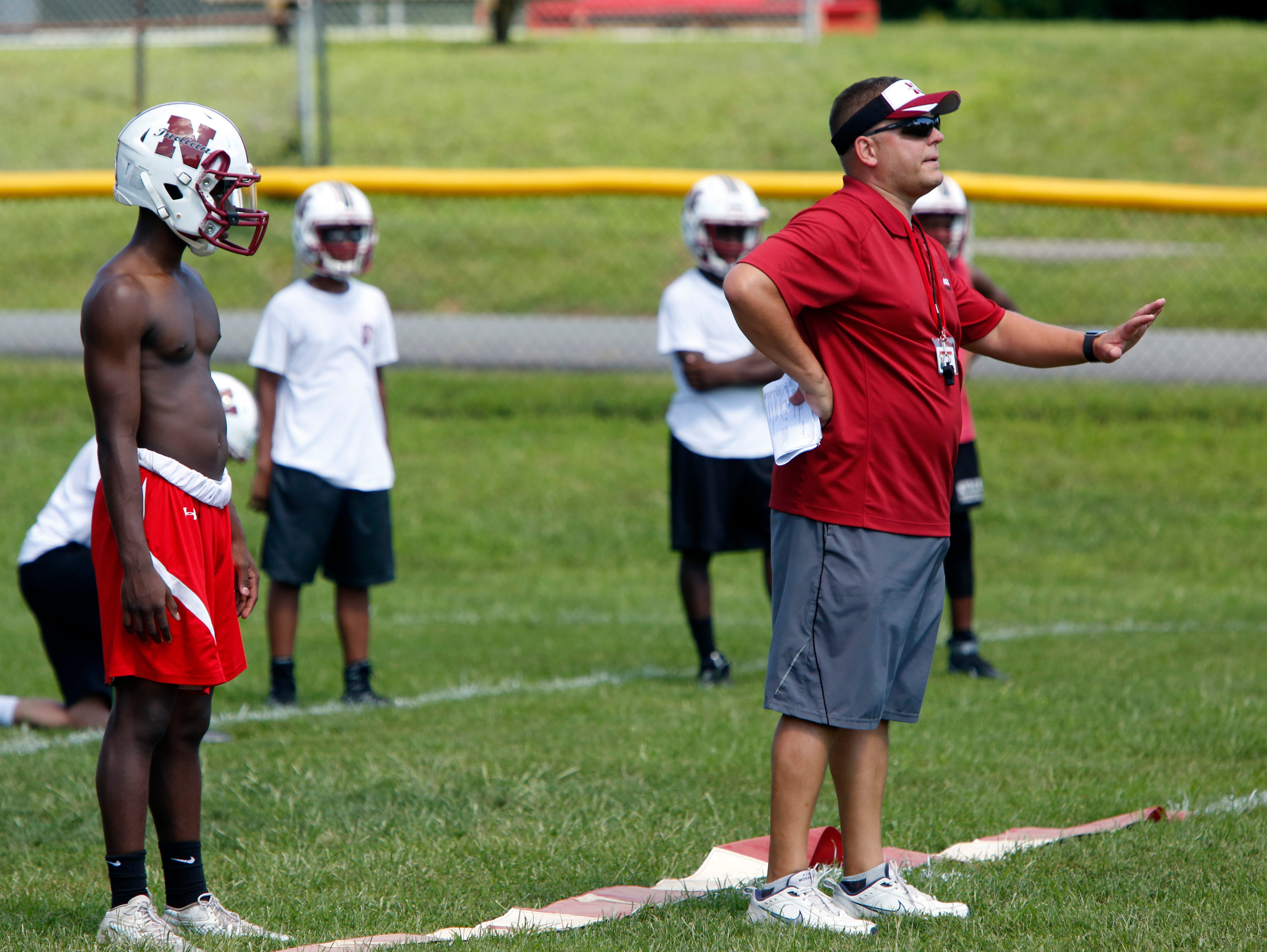 Dominick DeMatteo, Nyack's new football coach, leads the first day of football practice Aug. 15, 2016 at Nyack Middle School.