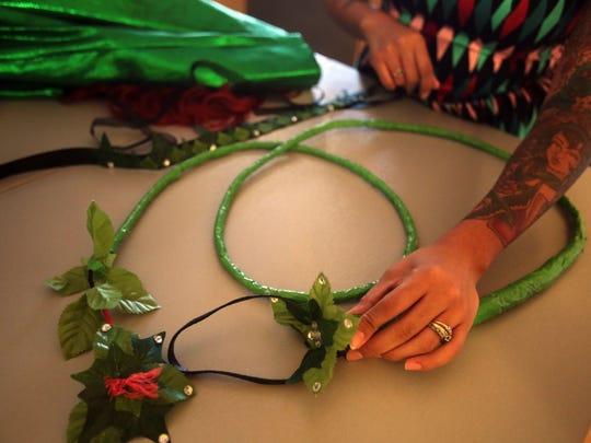 Ruby Whitney made this whip for her Poison Ivy costume. Photo taken on July 20, 2016 in Indio.
