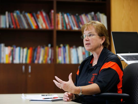 Fairfield Community School District Superintendent Laurie Noll talks about drafting guidelines and best practices for the district on dealing with transgender students Tuesday, Aug. 16, 2016, in Fairfield, Iowa.
