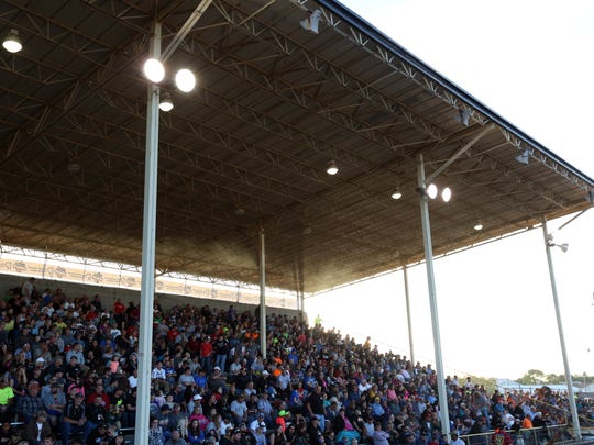 The Manitowoc Speedway grandstand was almost full for Interstate Racing Association racing Friday, July 1.