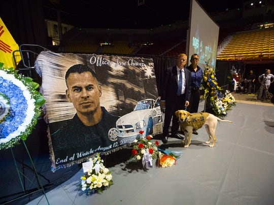 Inside the Pan American Center before the start of the memorial for slain Hatch, NM police officer Jose Chavez, Sunday, August 21, 2016.