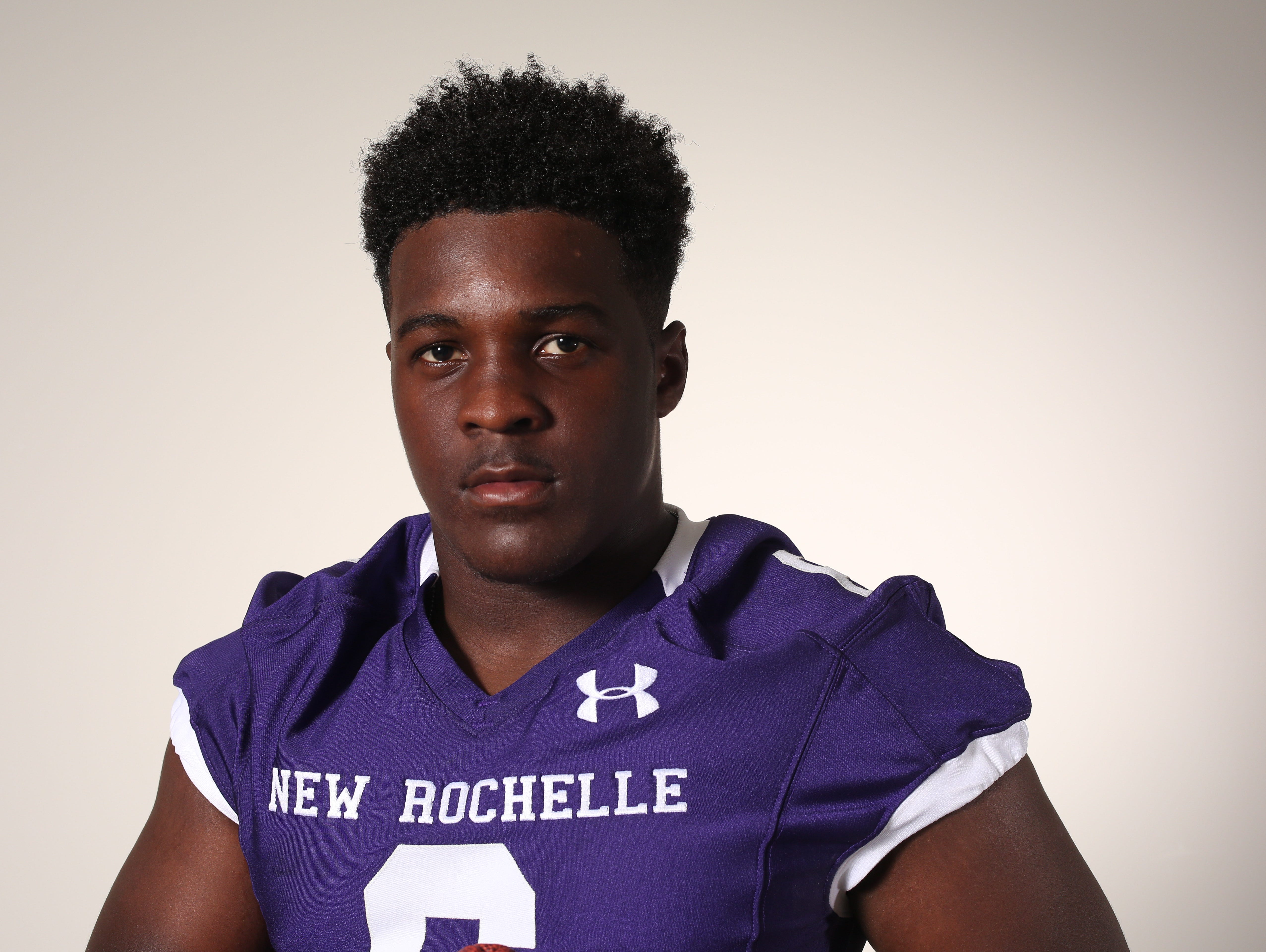 Jared Baron, a running back and inside linebacker with the New Rochelle High School football team, photographed Aug. 19, 2016.