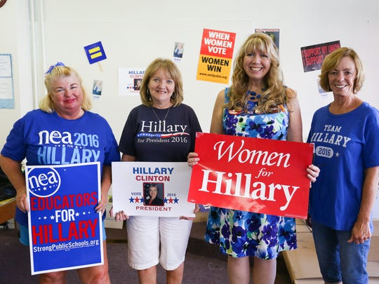 Kim Tweedy, Joy Dasher, Brendalynn Himebaugh Rakoske and Connie Slye are pictured at the opening of Franklin County Democrats' headquarters in Chambersburg.