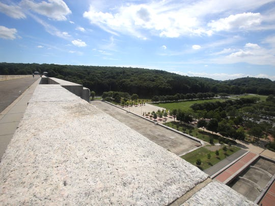 Kensico Dam Plaza is seen from the roadway on top of the Kensico Dam in Valhalla Aug. 30, 2016. The road above the plaza has been closed to vehicular traffic since the Sept. 11, 2001 attacks. In 2012 the road was reopened to pedestrian traffic.