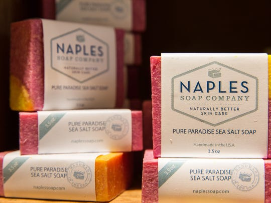 Soap bars line the shelves in Naples Soap Company at Coconut Point mall in Estero, Florida, on Wednesday, Aug. 31, 2016. Deanna Renda, a former nurse, founded the Naples Soap Company in 2009 to make products (ranging from $5 bath bombs to $8.50 bars of soap) that she and her daughter, who both suffered from eczema and psoriasis, could use.