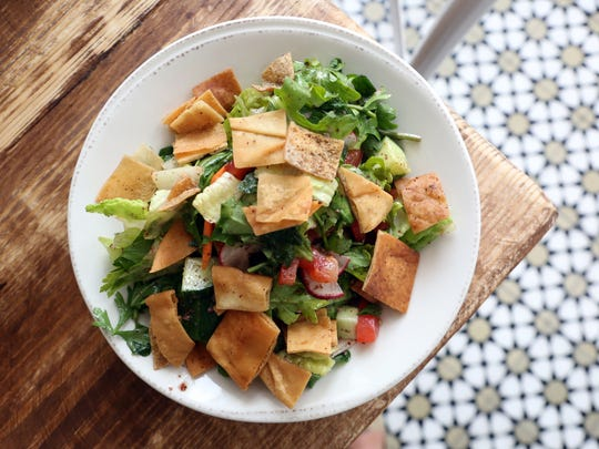 Tati Lena's fatoush salad, named after owner Tania Rahal's mother, at Rosemary and Vine in Rye, Aug.