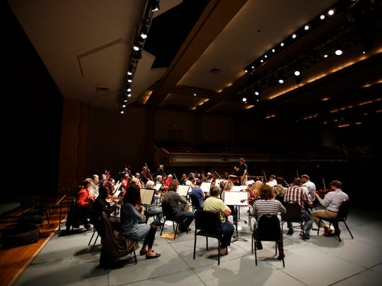 The Asheville Symphony Orchestra practices for the inaugural Asheville Amadeus.
