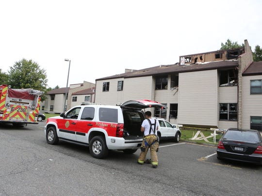 Firefighters at Purchase College the morning after