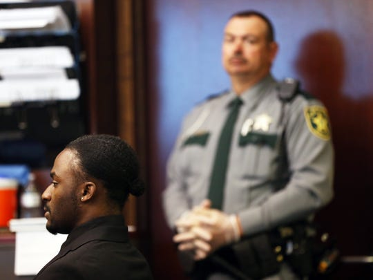 Kiereek Seymour Jr. during a sentencing hearing on charges of two DUIs and fleeing and eluding at the Collier County Courthouse on Monday, Jan. 25, 2016. Seymour was sentenced to three years in the Department of Corrections and 12 years of probation.