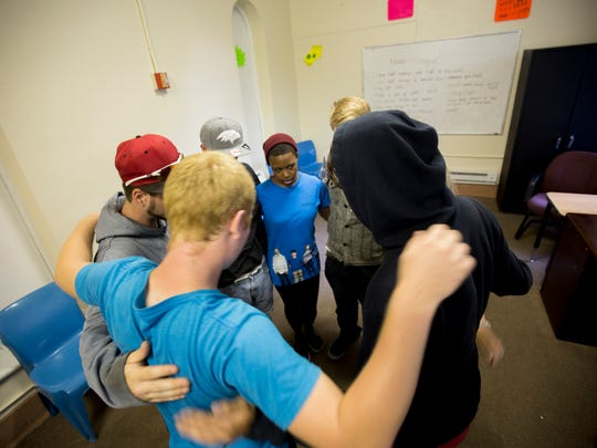 A group therapy session at Maryland Treatment Centers, where patients, even adolescents, are given medically-assisted treatment as well as counseling.