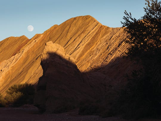 Full moon rising over Box Canyon in the Mecca Hills Wilderness, public lands administered by the Bureau of Land Management's Palm Springs South Coast Field Office.