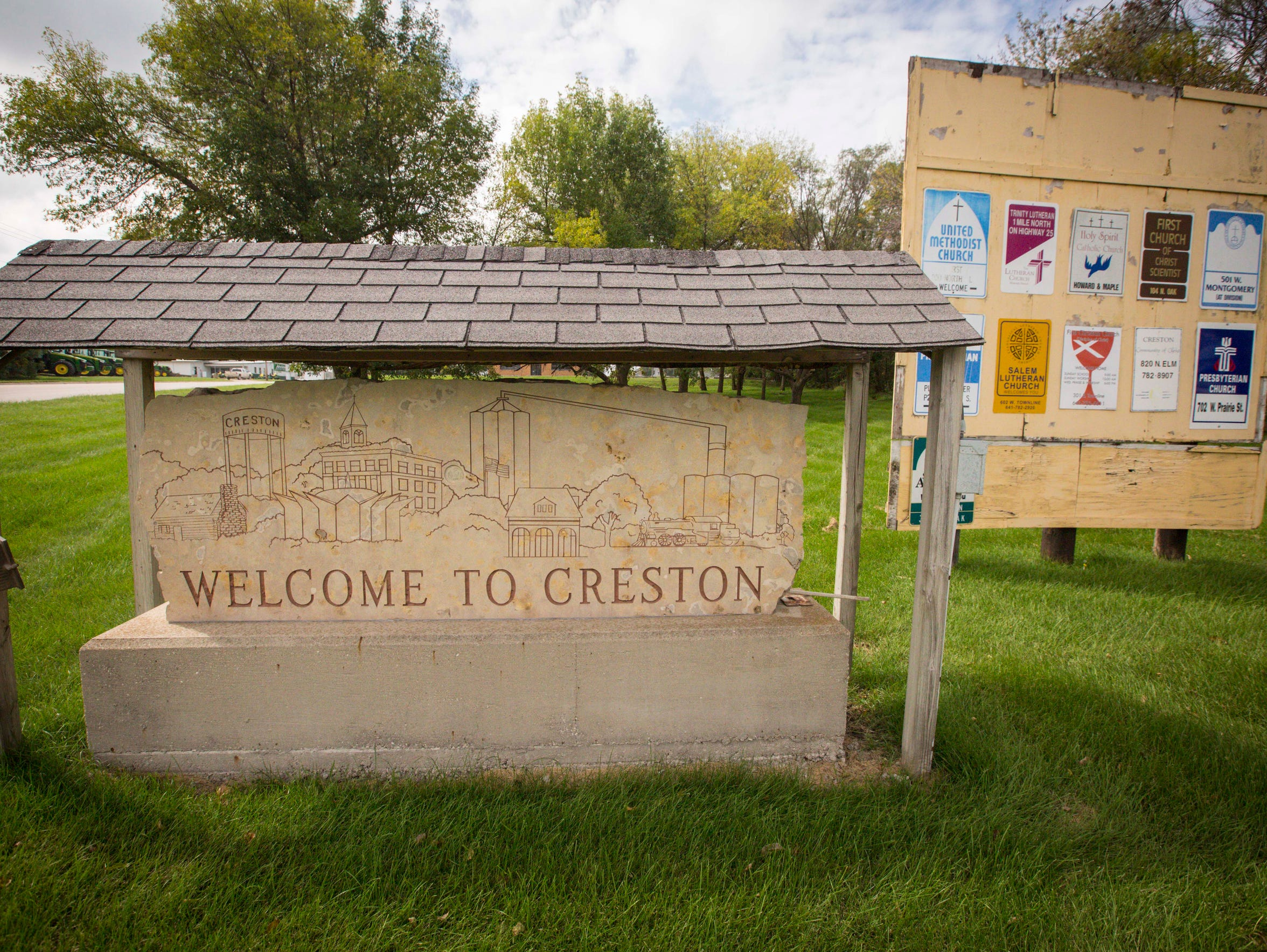 Welcome signs on the east side of town in Creston,